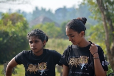Meghal (workshop project leader) and Narmada looking serious.